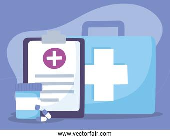 telemedicine, kit first aid medical report and medication treatment and online healthcare services