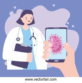 telemedicine, female doctor and hand with smartphone medical treatment and online healthcare services