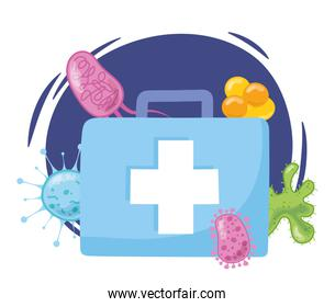 telemedicine, kit first aid virus bacterias medical treatment and online healthcare