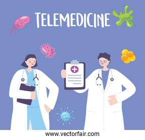 telemedicine, male and female doctor with clipboard stethoscope medical treatment and online healthcare services