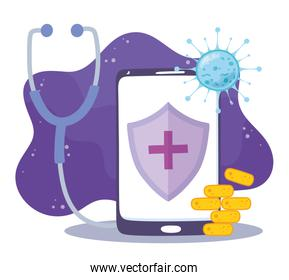 telemedicine, smartphone stethoscope medicine medical treatment and online healthcare services