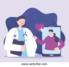 telemedicine, doctor and patient smartphone medical treatment and online healthcare services