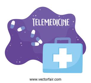 telemedicine, kit first aid prescription medical treatment and online healthcare services