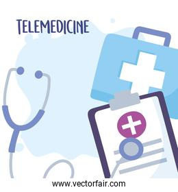 telemedicine, kit medical stethoscope clipboard equipment treatment and online healthcare services