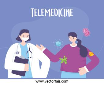 telemedicine, doctor and patient consultation medical treatment and online healthcare services