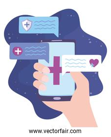 telemedicine, hand with smartphone chatting consultation, medical treatment and online healthcare services