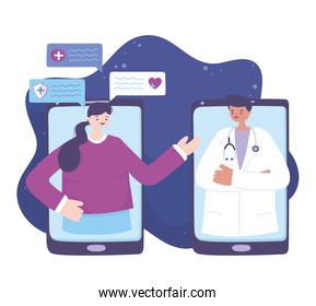 telemedicine, smartphones patient and doctor connected, medical treatment and online healthcare services