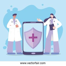 telemedicine, female and male doctor smartphone medical treatment and online healthcare services