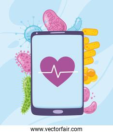 telemedicine, smartphone heartbeat, coronavirus disease, medical treatment and online healthcare services
