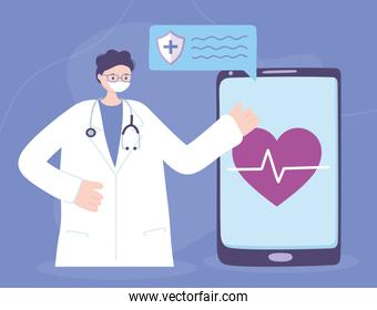 telemedicine, physician chatting with smartphone medical treatment and online healthcare services