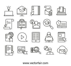 elearning online education and development class set line style icon
