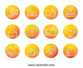 elearning online education and development class set gradient style icon