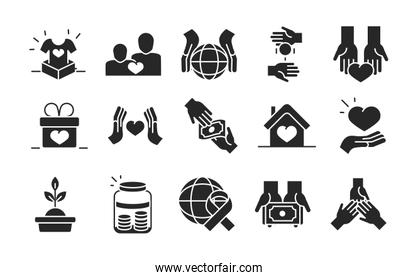 donation charity volunteer help social assistance icons collection silhouette style