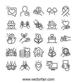 donation charity volunteer help social assistance icons collection line style