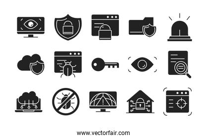 cyber security and information or network protection icons set line style