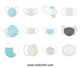 breathing medical masks, hospital or pollution protect, prevention face masking, icons set