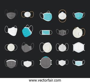 breathing medical mask, hospital or pollution protect, prevention mouth masking icons set black background
