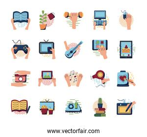 Things to do at home flat style icon set vector design
