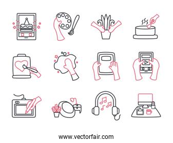 Things to do at home line style icon set vector design