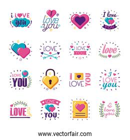 I love you texts flat style icon set vector design