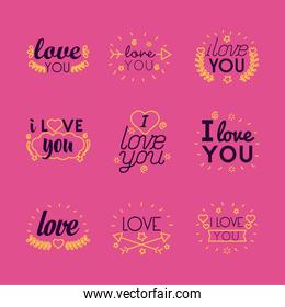 I love you texts line style icon set vector design