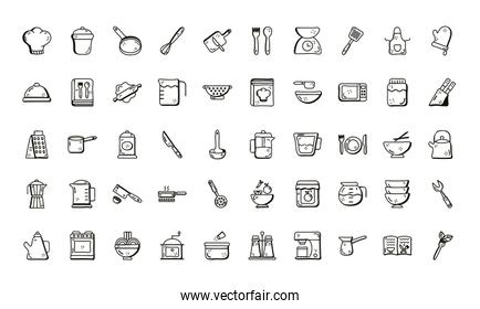 Cook and kitchen line style icon set vector design
