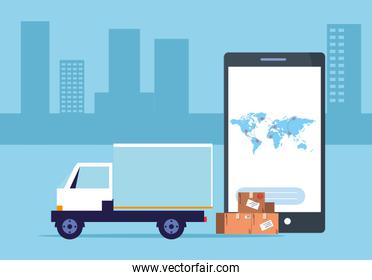 courier delivery service with smart phone, tracking of packages