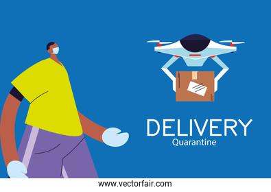 man receiving package in drone with safety precautions, face mask and gloves
