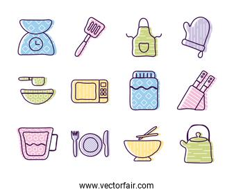 Cook and kitchen line and fill style icon set vector design
