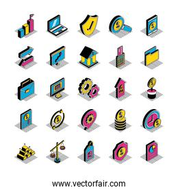 Money and financial isometric style icon set vector design