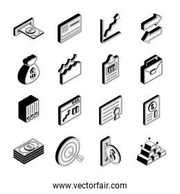 Money and financial isometric line style icon set vector design