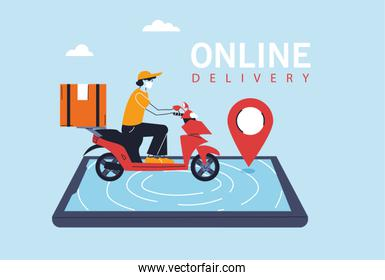 delivery man with protective face mask in motorcycle, app of smartphone