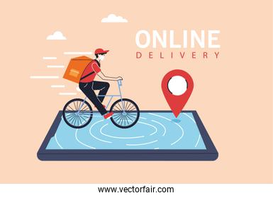 delivery man with protective face mask in bicycle, app of smartphone