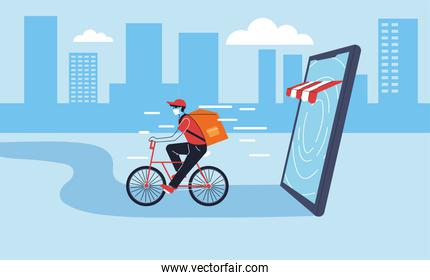 delivery man with protective face mask in bicycle, online delivery