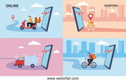 set ofo icons delivery service, transportation and logistics of digital shopping