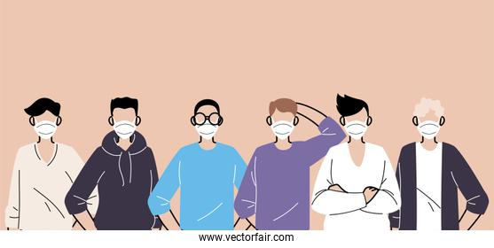 people in protective medical face masks, men wearing protection from coronavirus