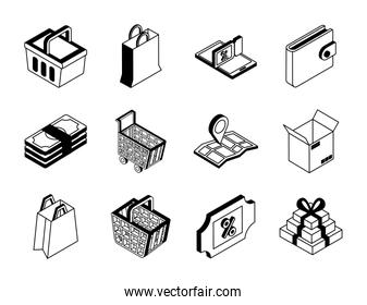 Shopping online isometric style icon set vector design