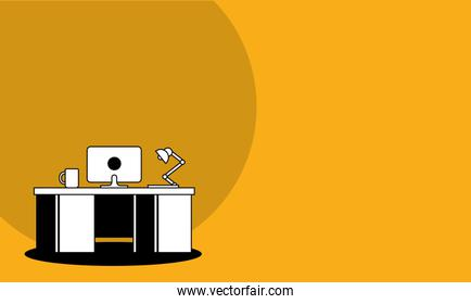 Desk with computer and coffee mug and lamp vector design