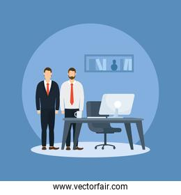 Businessmen and desk with computer vector design