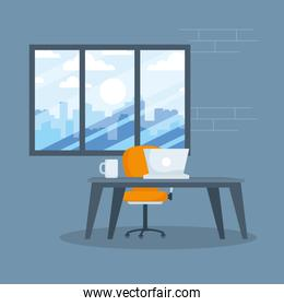 Desk with laptop and coffee mug in front of window vector design