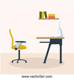 Desk with computer and shelf with books vector design