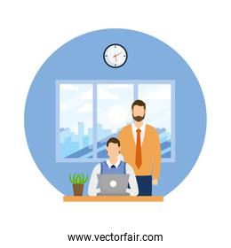 Businessmen on desk with laptop and cactus vector design