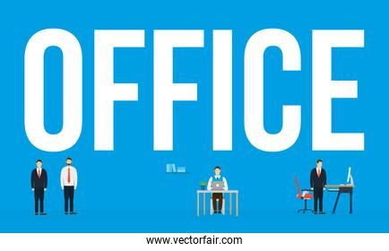 Corporate businessmen and office text vector design