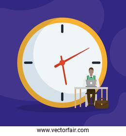 Businessman with laptop on desk in front of clock vector design