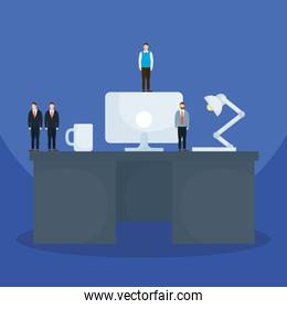 Businessmen on desk with computer coffee mug and lamp vector design