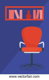 Chair and shelf with books and cactus vector design