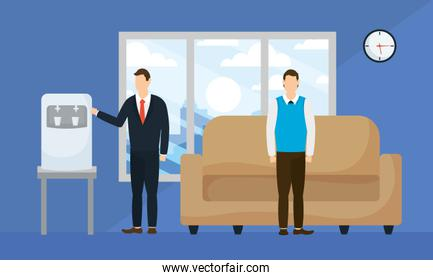 Businessmen with water dispenser and couch vector design
