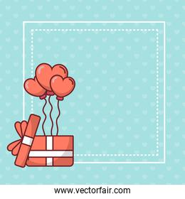 Valentines day hearts balloons over gift vector illustration