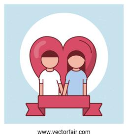 Valentines day couple in front of heart vector design