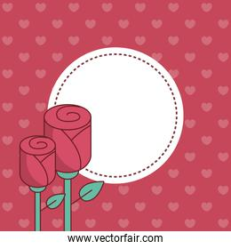 Valentines day seal stamp with roses vector design
